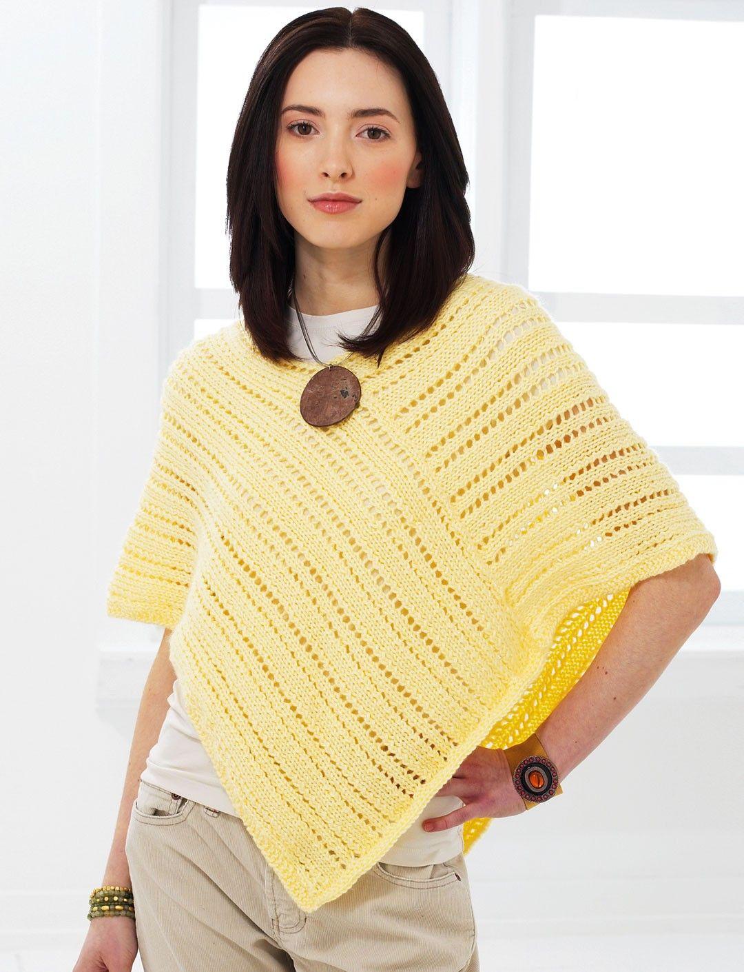 Easy Poncho Knitting Pattern Free : Yarnspirations bernat knit poncho