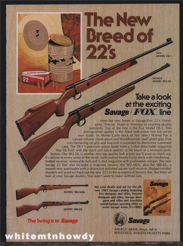 1981 SAVAGE FOX FB-1 982-DL 982-MDL 98 Rifle AD : Gun Posters