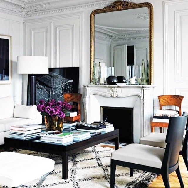 Marble Fireplace Rug: Paris Apartment: Gilded Brass Mirror, Marble Fireplace