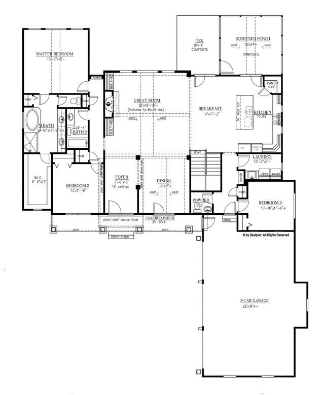 One Story Home Has Lots Of Storage Craftsman Style House Plans Craftsman Floor Plans Single Story House Floor Plans