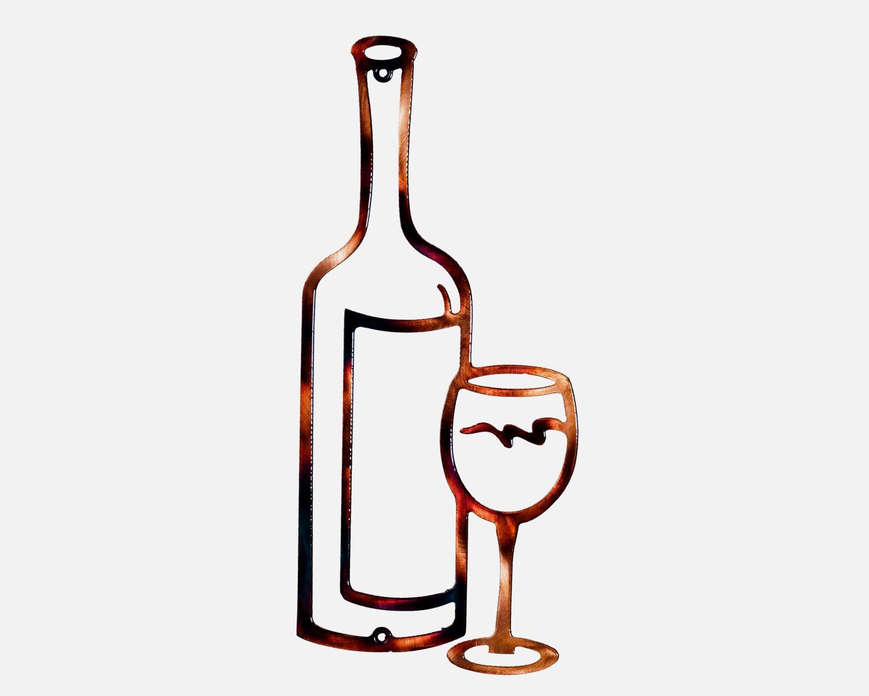 Wine Bottle Glass Bar Or Kitchen Metal Art Decor Metal Art Decor Wine Decor Glass Bar