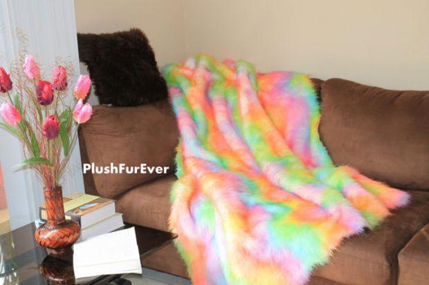 "60"" x 72"" Rainbow Fur Premium Shaggy Fur Plush Faux Fake Fur Throw Blankets Sofa Throws Bedding Decor Plush Soft Comforters"