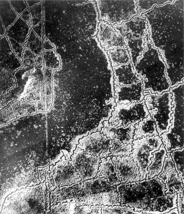 An aerial view of the WWI Loos-Hulluch trench system in France. British trenches are situated on the left of the photo, and German trenches on the right – in the middle of the two is no man's land. July 22, 1917.   WWI