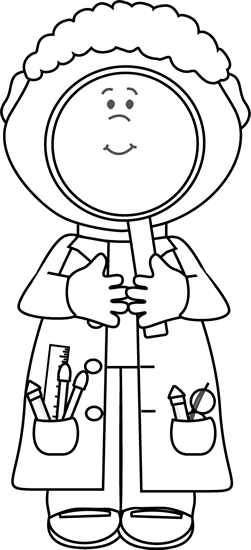 Scientist with Big Magnifying Glass; coloring sheet for