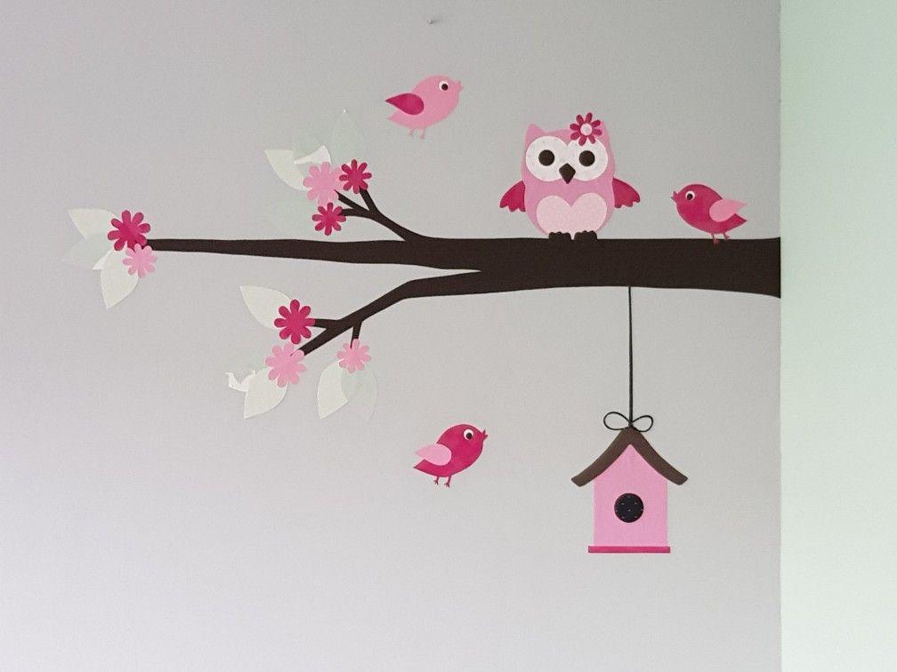 Kinderkamer Behang Vogelhuisjes : Muurdecoratie babykamer behangtak met bloesem en vogelhuisje