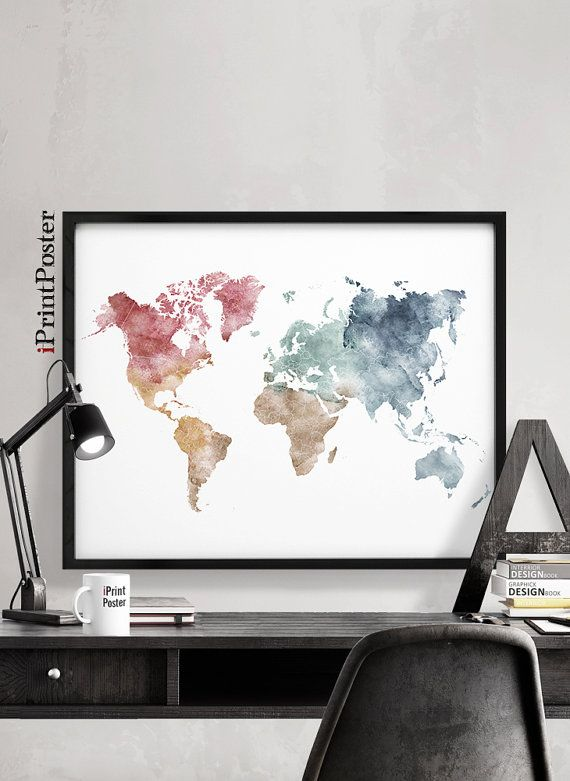 World map poster world map print large world map pastel map art world map poster world map print large world map pastel map art watercolour map travel wall art home decor iprintposter gumiabroncs Image collections