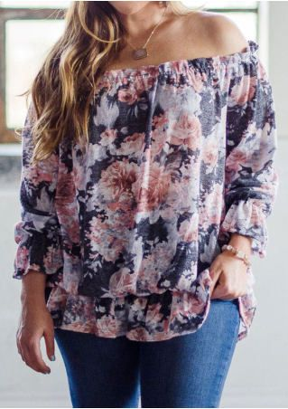 3830954b792271 Floral Off Shoulder Blouse without Necklace