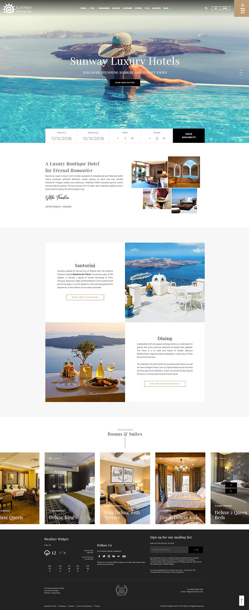 Sunway Hotel Booking Wordpress Theme 웹디자인 리조트 웹사이트 디자인 레이아웃