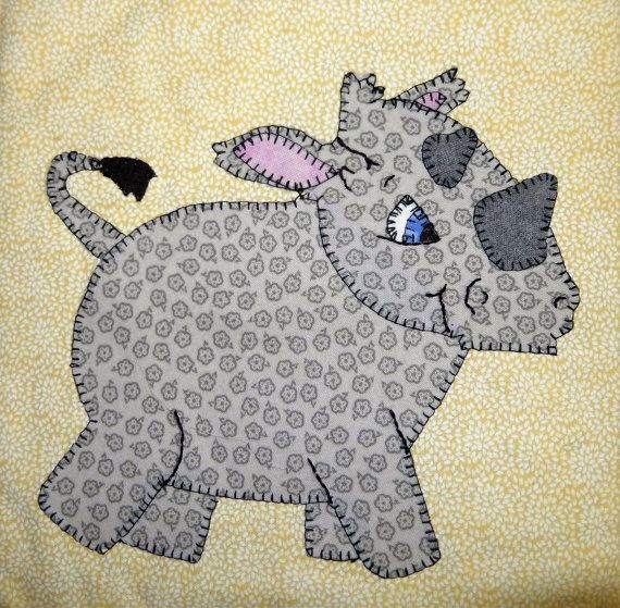 Rhino PDF applique pattern; African safari animal quilt pattern; zoo ...