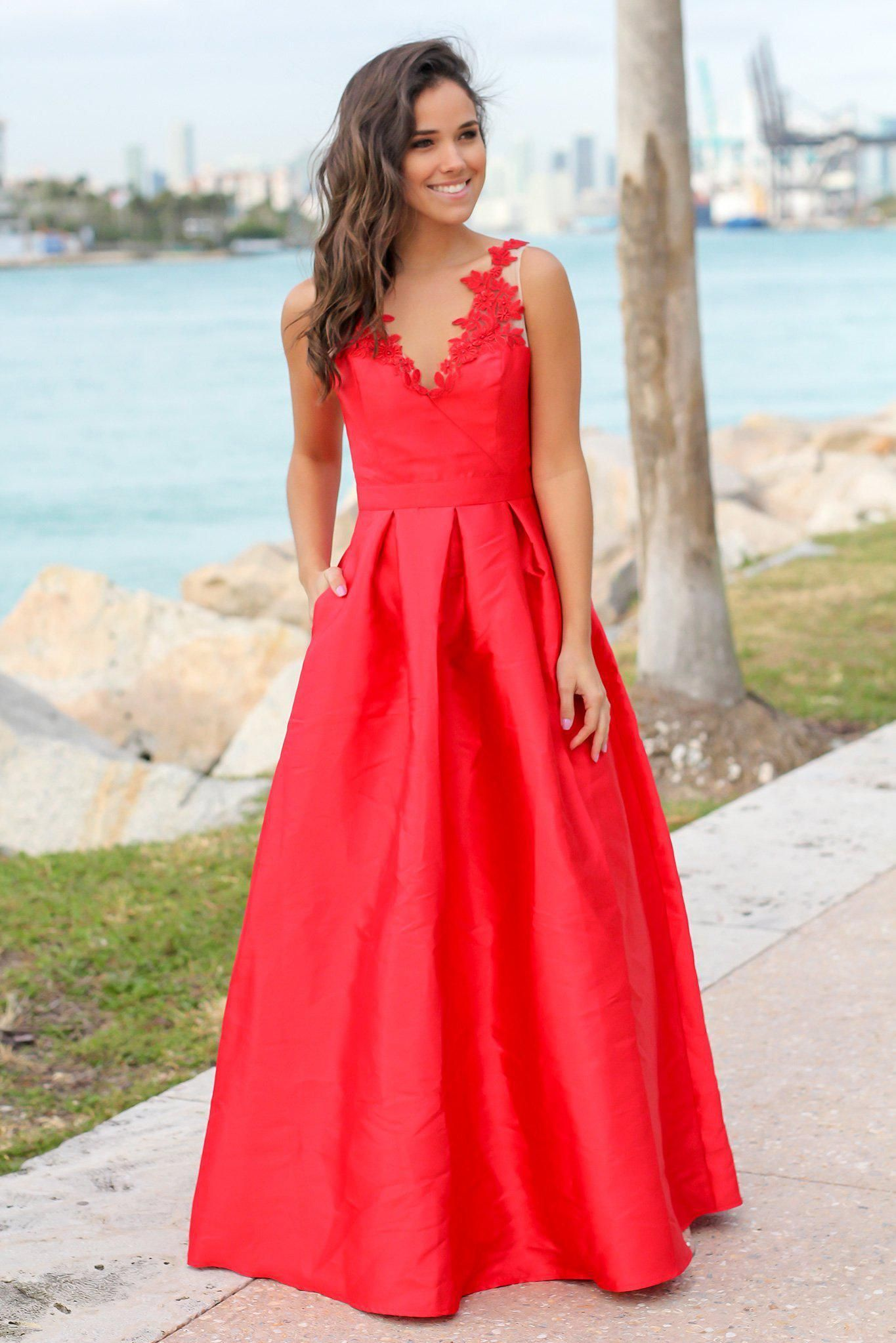 b37ba74a778 Red Maxi Dress with Embroidered Detail in 2019