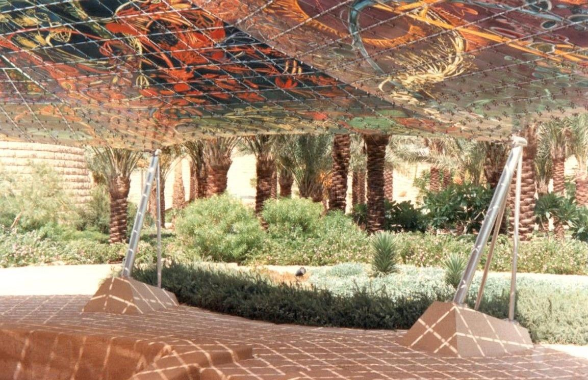 Hand painted glass canopy within the Frei Otto designed Diplomatic Club, Riyadh: photo Barton Howe Associates