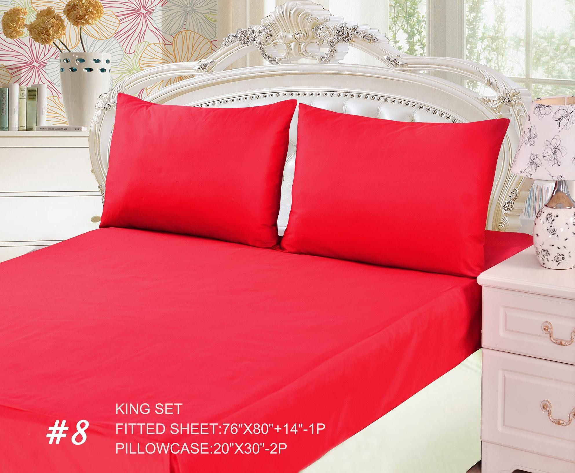 Tache 3 Piece Vibrant Red Bed sheet Set (King) (Fitted Sheet)
