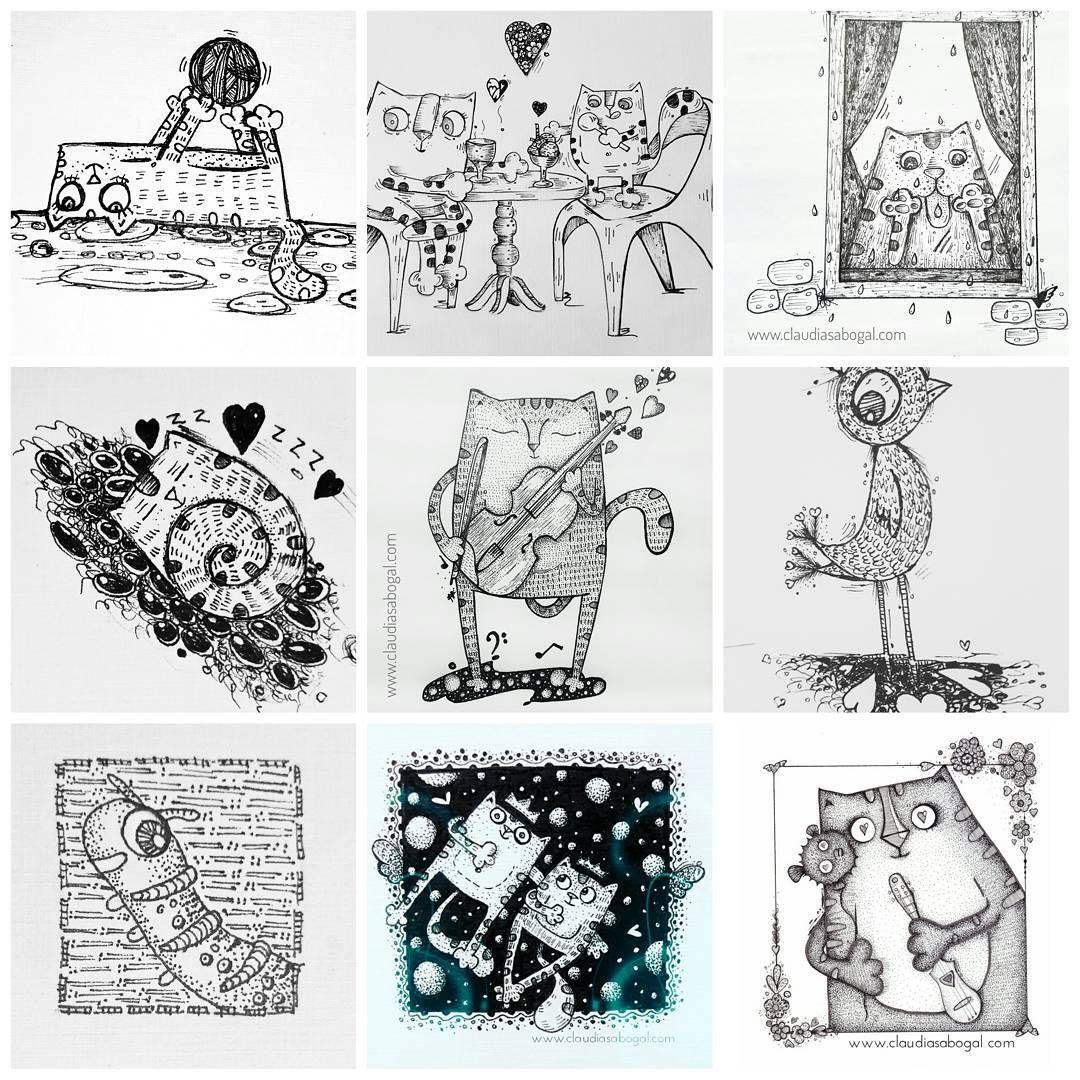 """45 Me gusta, 4 comentarios - Claudia Sabogal G. (@cgrafica) en Instagram: """"Matachos... #catslover #sketch #sketchbook #lapizypapel #bocetos #illustration #drawing #penart…"""""""