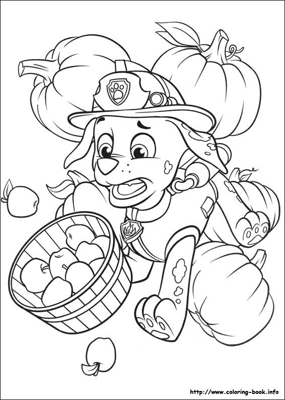 Marshall Thanksgiving Paw Patrol coloring page Zac party