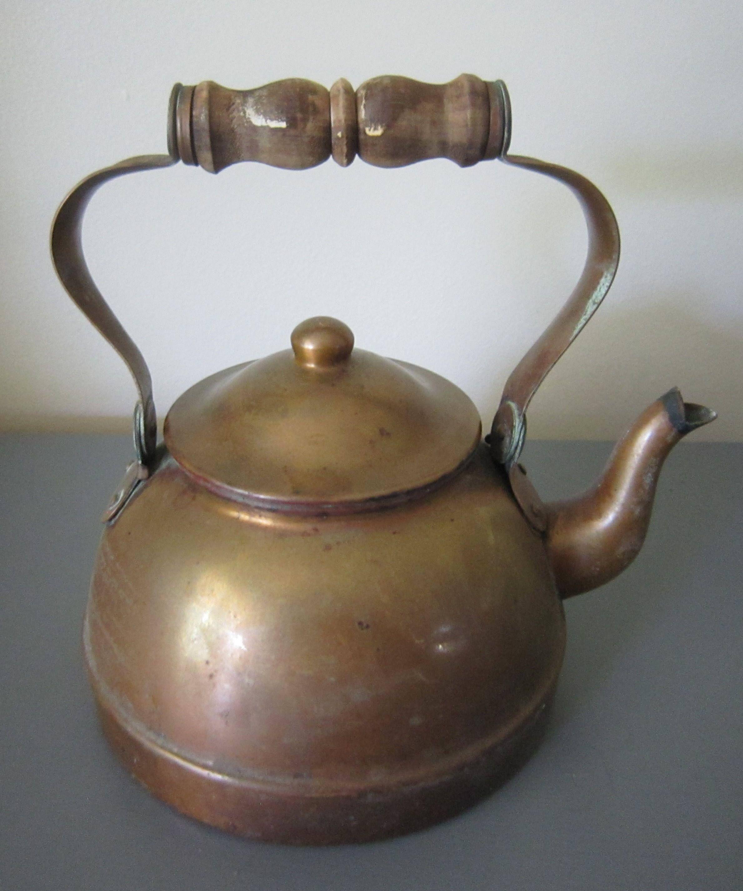 vintage copper tea pot copper tea kettle wood handle teapot with