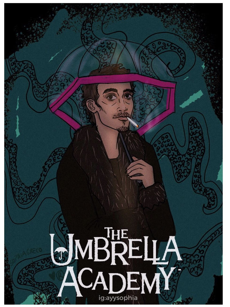 Klaus Umbrella Academy Umbrella Drawings Serial Art
