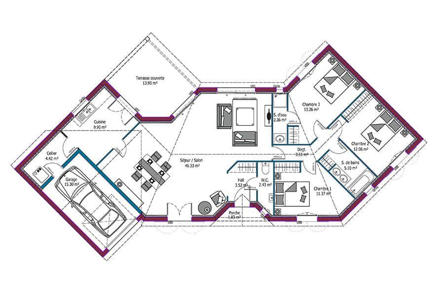 Plan de maison de plain pied de 114m² Ce modèle Cognac, présente - Plan De Maison De 100m2 Plein Pied