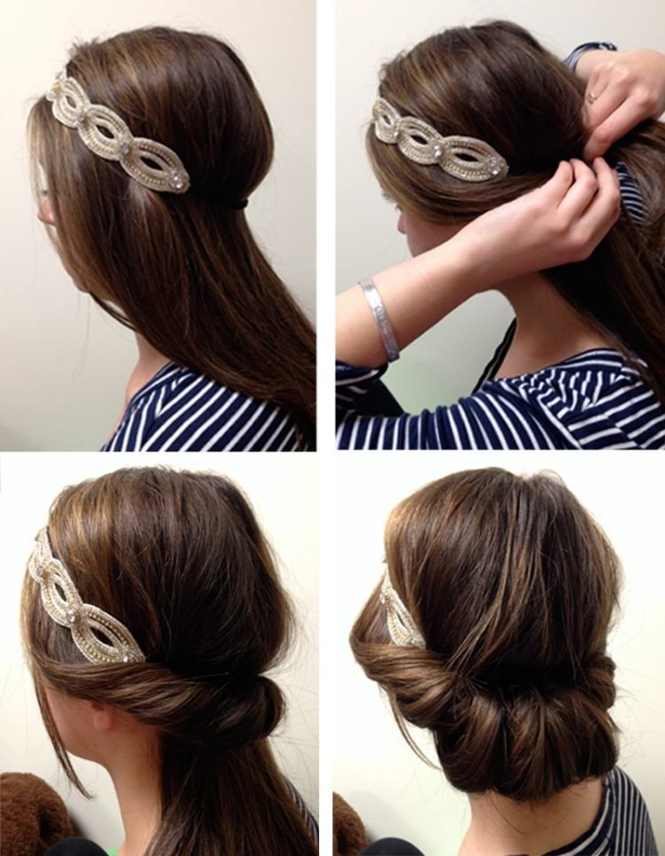 eindrehfrisur selber machen f r lange haare haare pinterest frisuren mit haarband l ngere. Black Bedroom Furniture Sets. Home Design Ideas