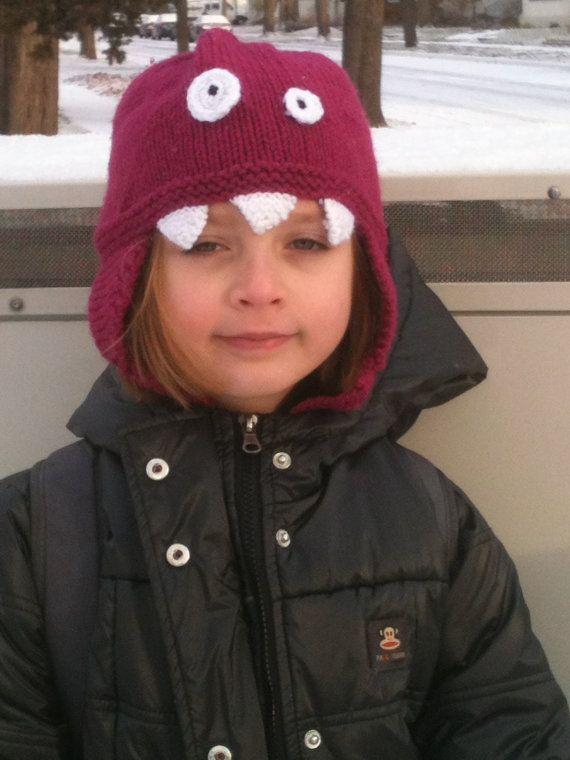 bcb1cdc412846 Wynn modeling a dark pink Child Adult Hat Knit Crazy Eyed Monster Hat in  Dark by mellowfury.