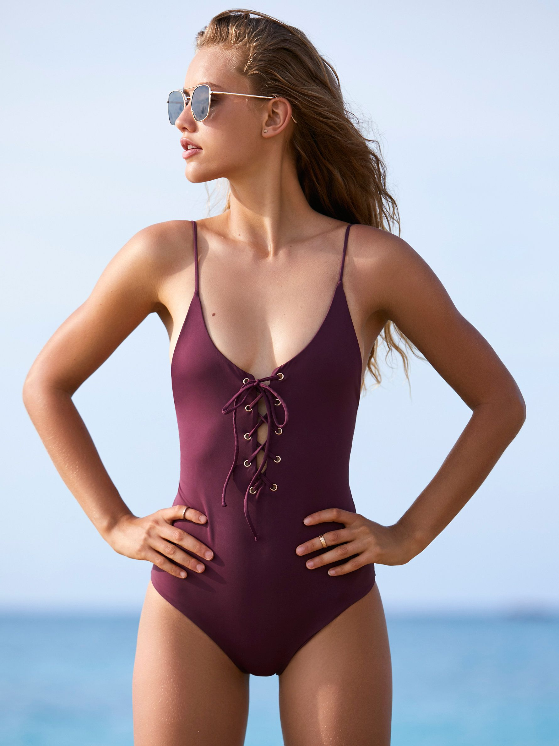 95c3006197a TAVIK Monahan One Piece Swimsuit | American made one piece swimsuit  featuring adjustable lace-up detailing in front and back with metal grommet  detailing.