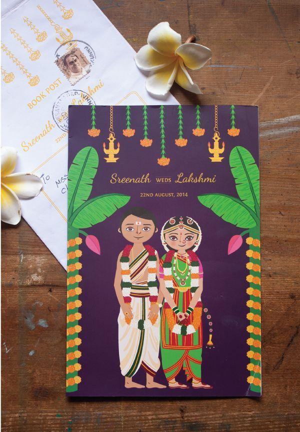 13 Best Brahmin Marriage Images On Pinterest Illustrated Wedding Invitations Creative Wedding Invitations Wedding Reception Invitations
