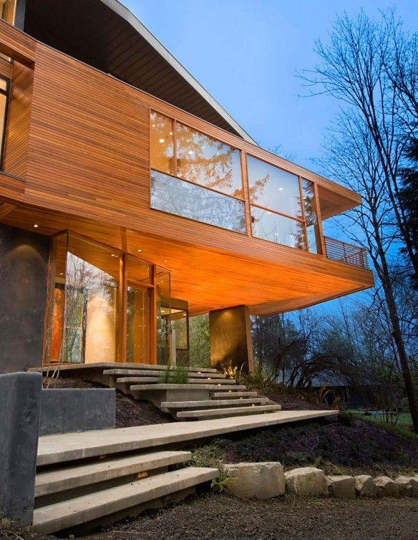 maison beton bois : maison contemporaine d\'architecte ...