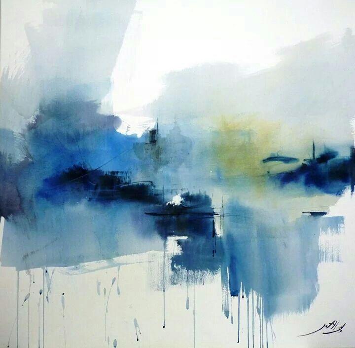 Mustapha Ben Lahmar Art Abstrait Aquarelle Peinture Abstraite