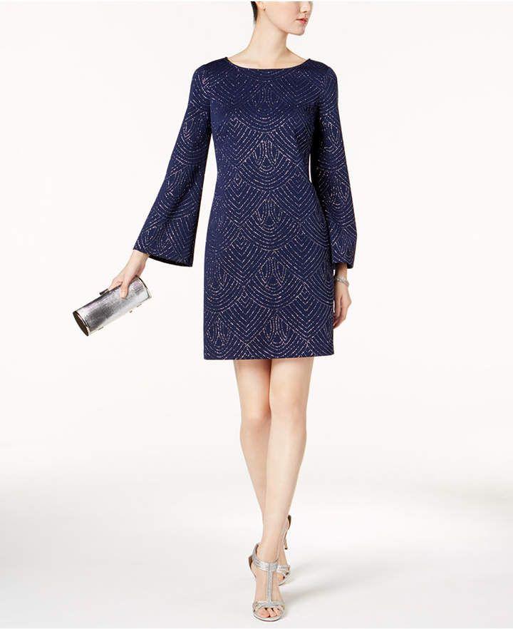 24fc0cfb1b Bell-Sleeve Glitter Shift Dress #design#shines#Jessica | Fashion ...