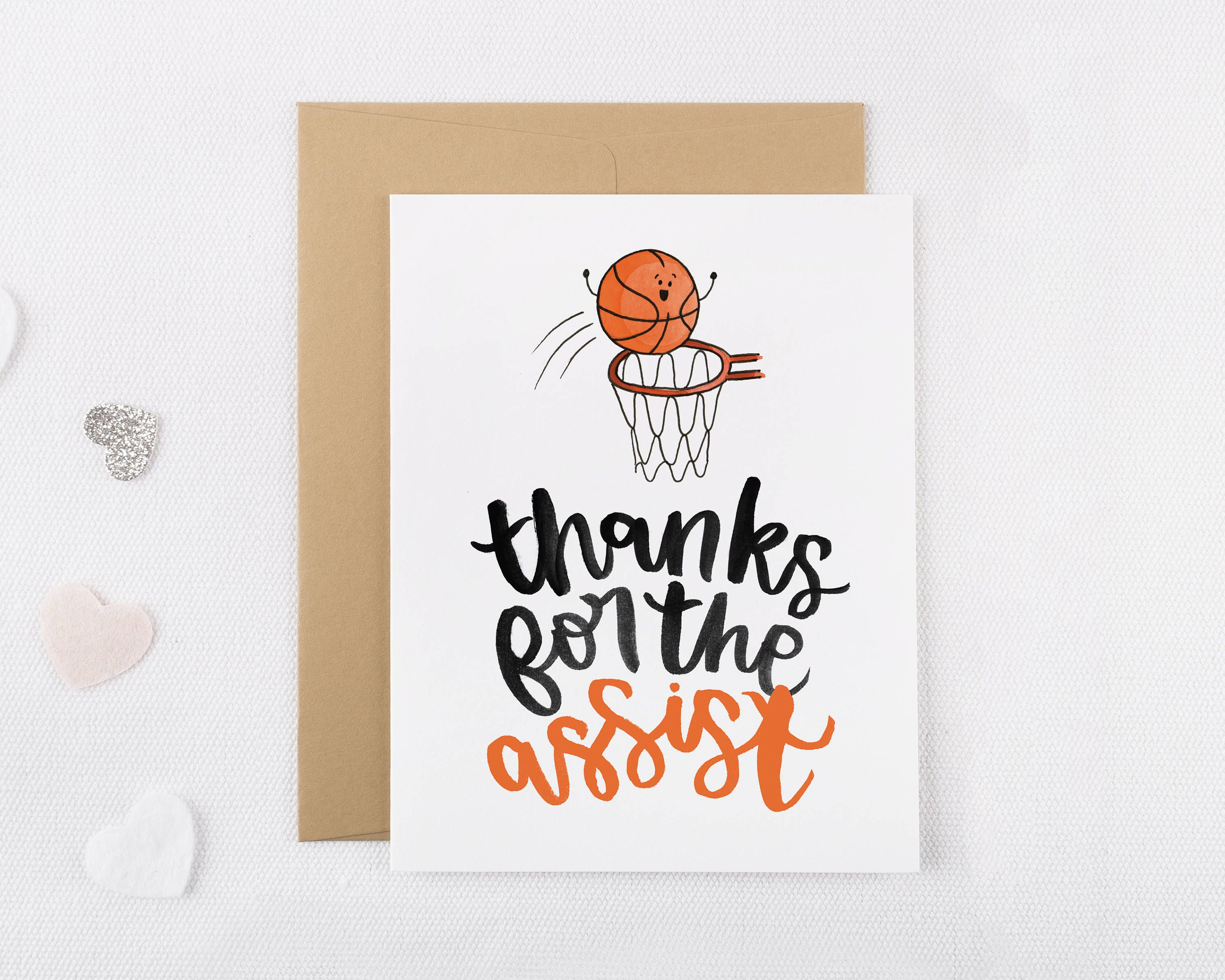 Thanks For The Assist Basketball Thank You Card  Funny Thank You