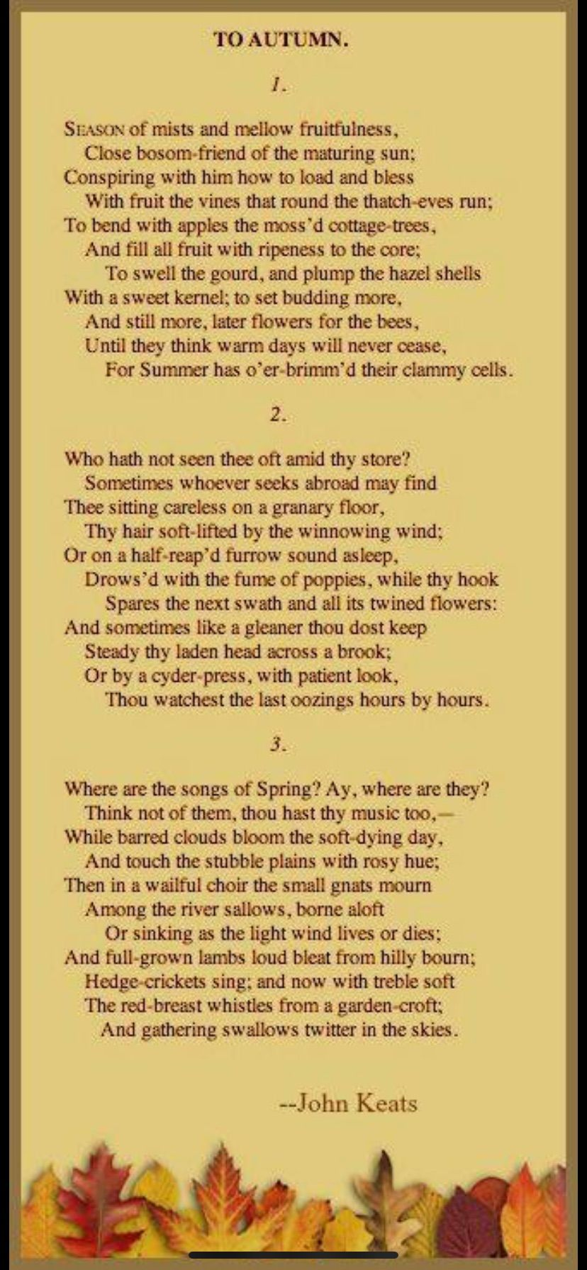 Pin By Edith Cheong On Poetry Keat To Autumn Poems Line Explanation Of The Poem Ode John Keats