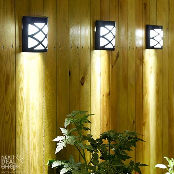 1-2PCS Outdoor Garden Solar Powered Shed Door Fence Wall LED Lights Bright Lamp