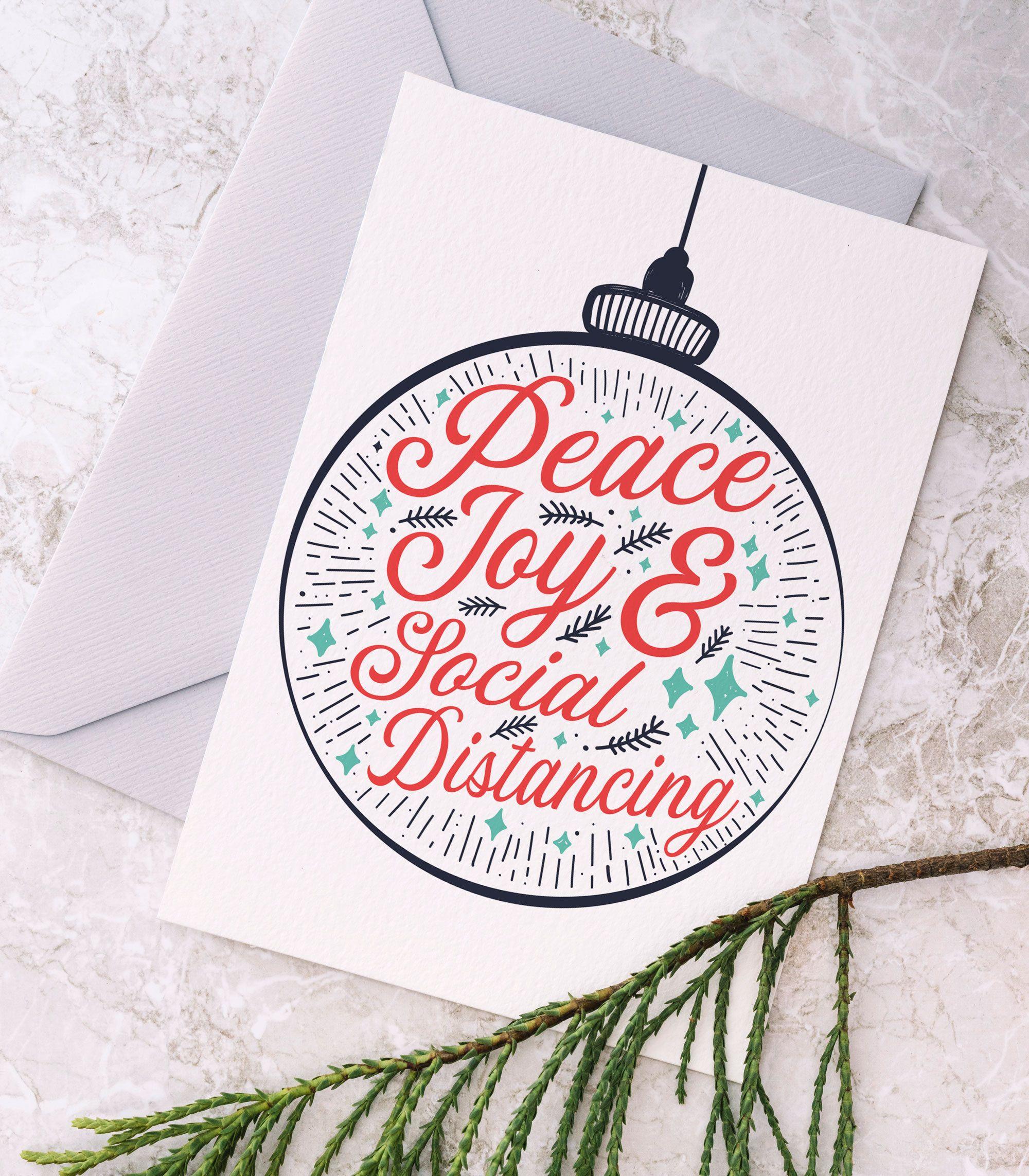 Peace Joy Social Distancing Printable Christmas Card Etsy Corporate Holiday Cards Christmas Card Template Couple Christmas Card