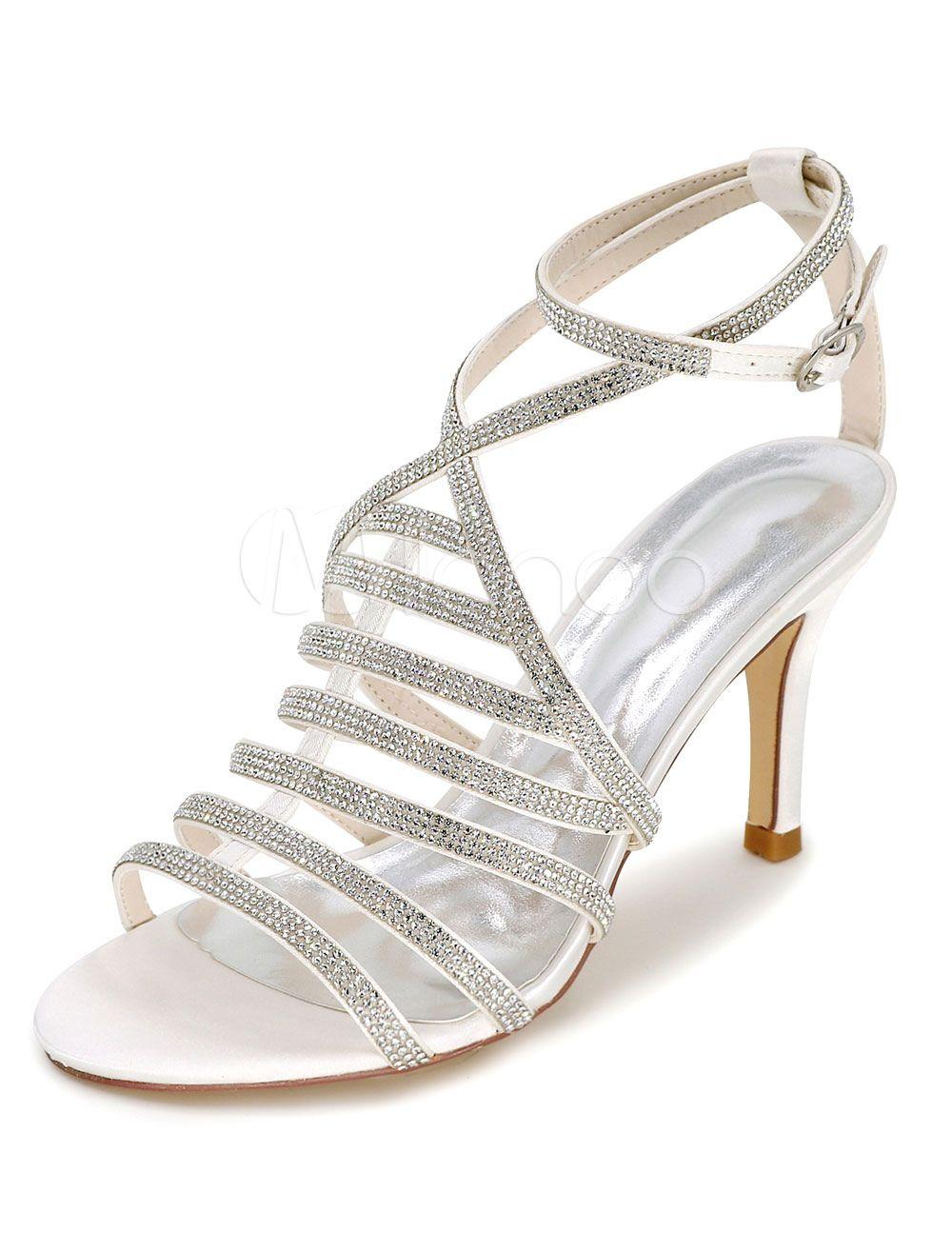 7dd16df00 Wedding Shoes, zapato de boda ,Wedding Shoes Gladiator Sandals Women's High  Heel Rhinestones Ankle Strap Bridal Shoes