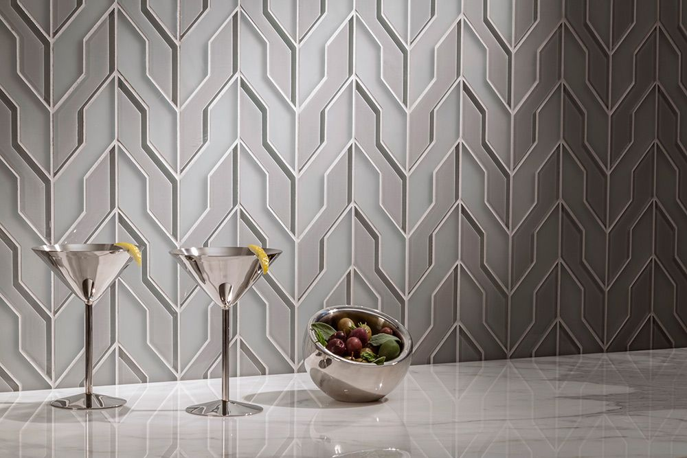 Zig Zag Dove Gray Clear Frosted Akdo Unique Tile