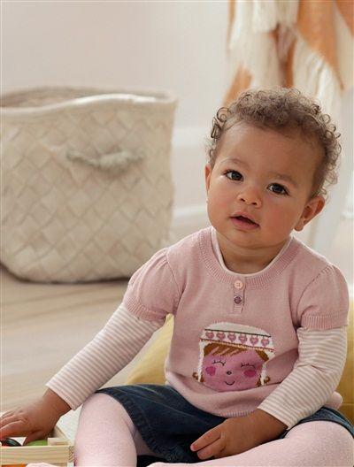 Camisola bordada, em tricot, para bebé menina