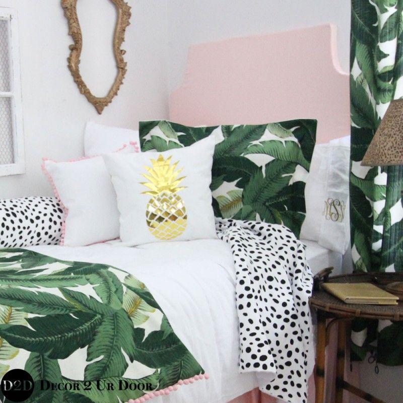 Can't leaf without this one! Palm Leaf & Pastel Pink Designer Dorm Bedding Set