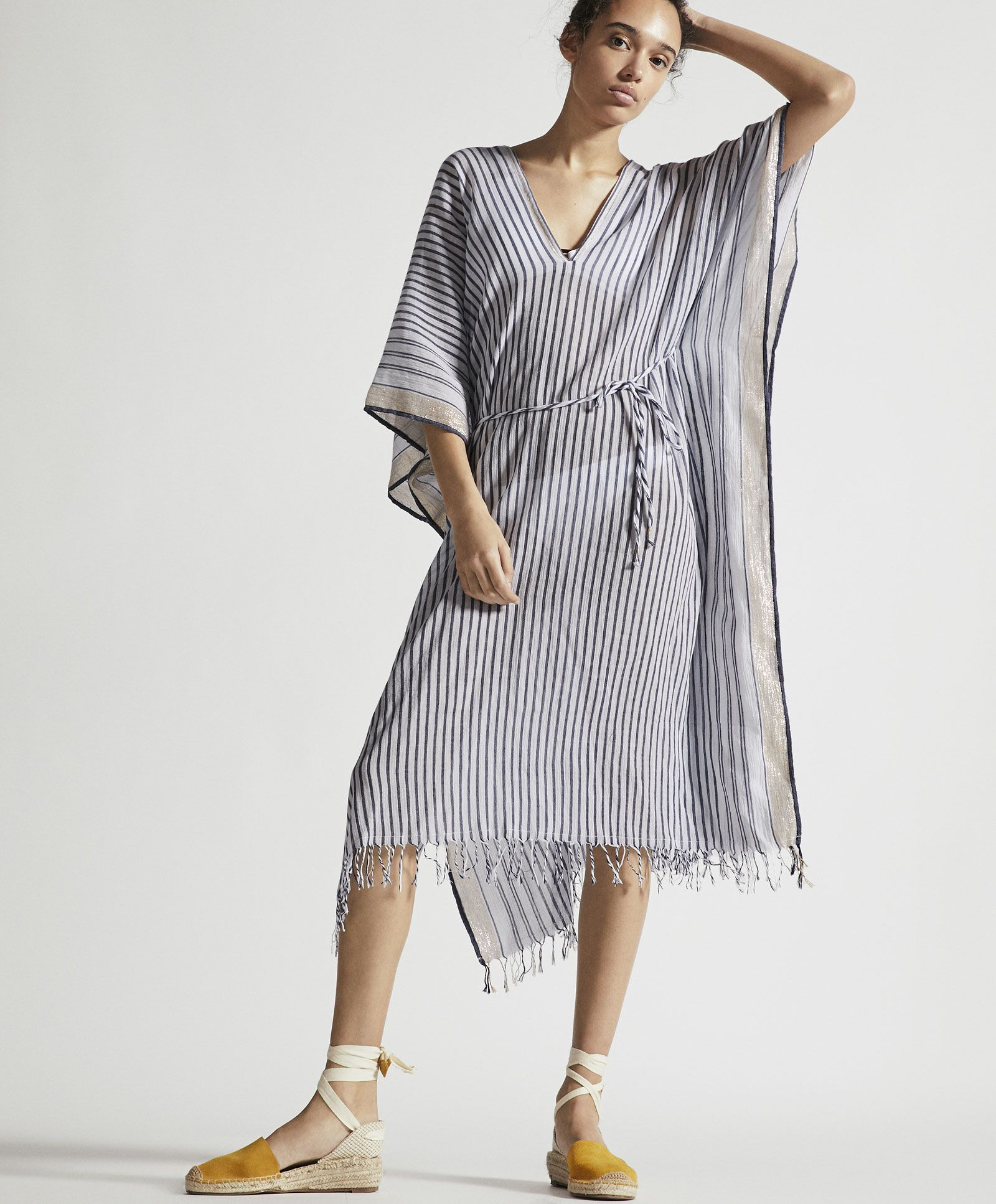 13dc9d7679a5 Striped fabric tunic with shimmer thread - Tunics - SWIMWEAR AND ...