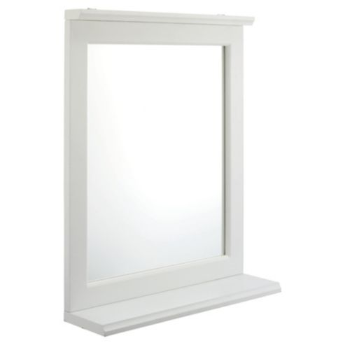 W43 H55 D12 Southwold White Wood Tongue Groove Mirror With Shelf