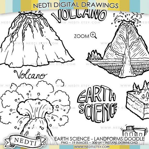Earth Science Landforms Volcano Island Canyon Hand Drawn