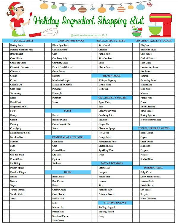 FREE Holiday Ingredient Shopping List Printable