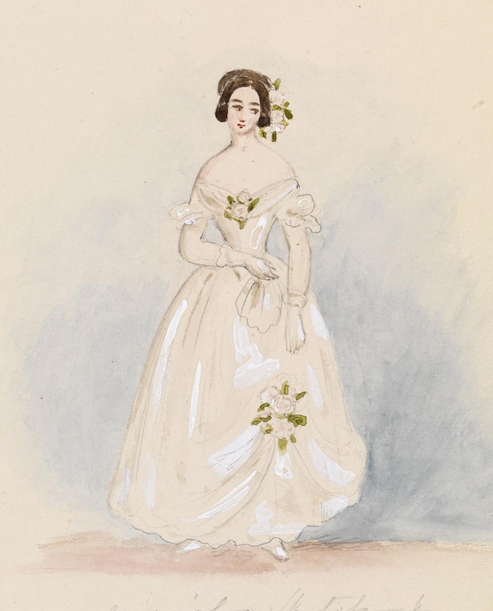 A Watercolour Design For Queen Victoria S Twelve Bridesmaids Dresses Royal Collection Trus Queen Victoria Prince Albert Queen Victoria Family Victoria Prince [ 1241 x 1000 Pixel ]