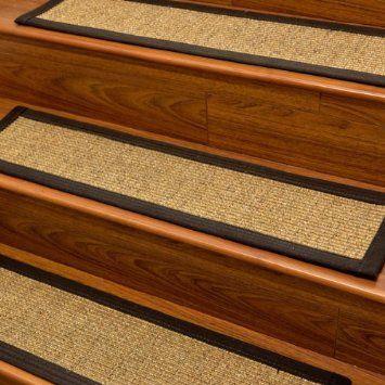 Carpet Stair Treads And Rugs 9 X 29   Studio Sisal Natural Fiber, Black  Cotton Binding
