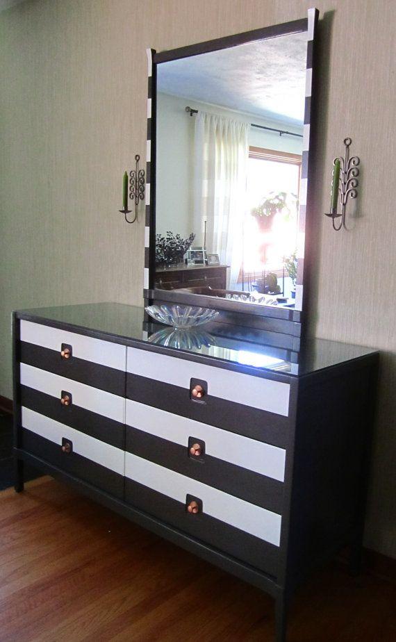 Best Mid Century Modern Grey And White Striped Dresser By 400 x 300