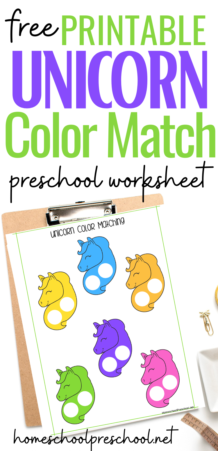 Unicorn Color Matching Worksheet Preschool Lessons Preschool Activity Preschool Books [ 1550 x 750 Pixel ]