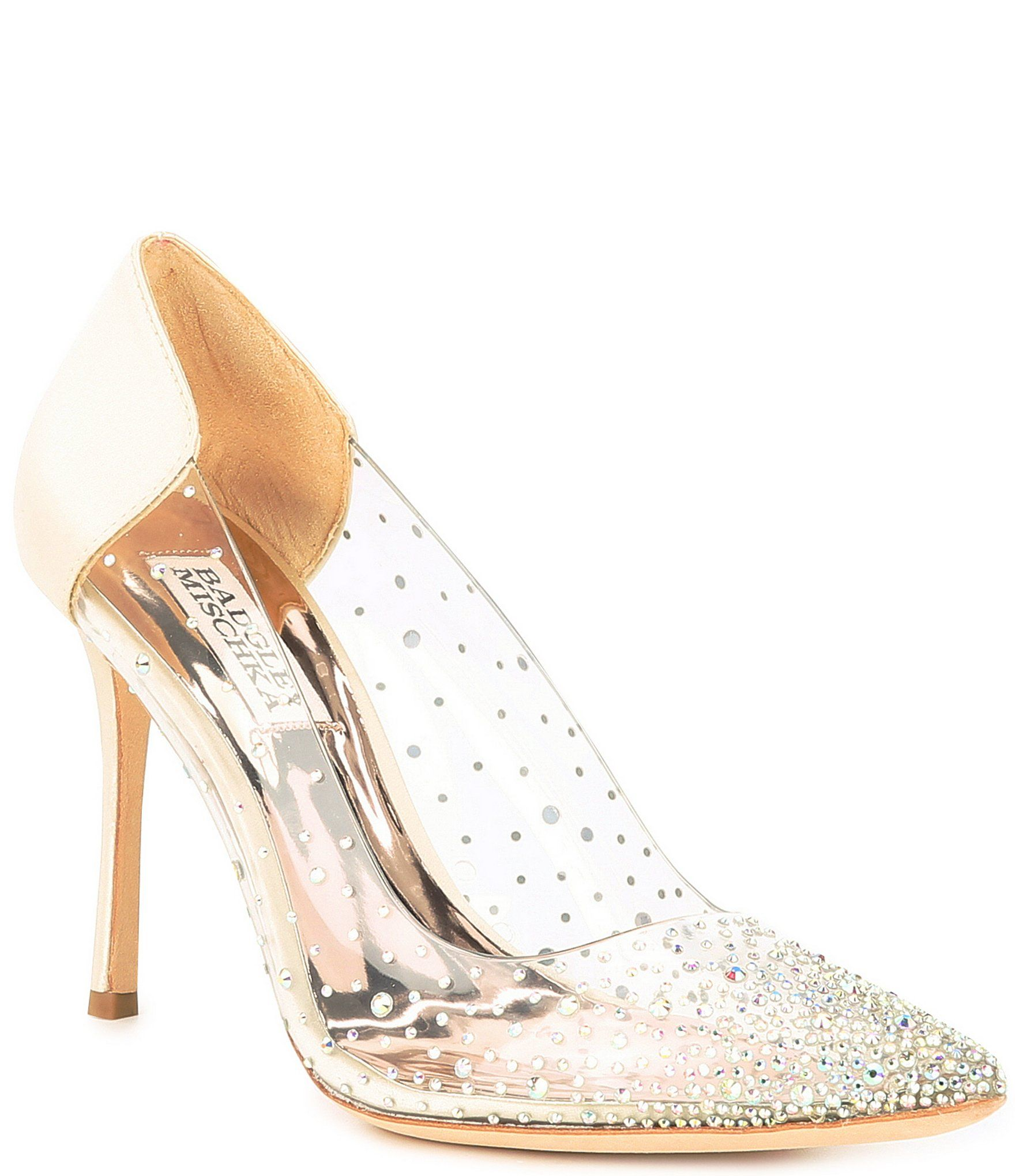Badgley Mischka Gisela Embellished Clear And Satin Pumps Dillard S In 2021 Badgley Mischka Shoes Wedding Satin Pumps Badgley Mischka
