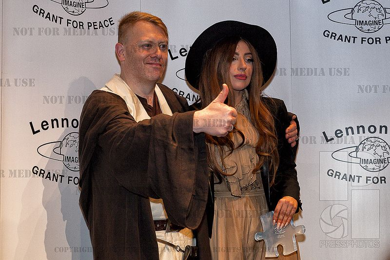 """Totally GAGA""  Stefani Joanne Angelina Germanotta aka Lady Gaga receives LennonOno grant for peace amongst others in Reykjavik. Here she is with Jón Gnarr, Mayor of Reykjavik.  She said that there should be more people like him and Yoko Ono actually asked if he could be cloned (kind of a dark humor for him since he was wearing a Jedi outfit). --- 2014©Pressphotos.biz / Geirix All rights reserved - Not for media use"
