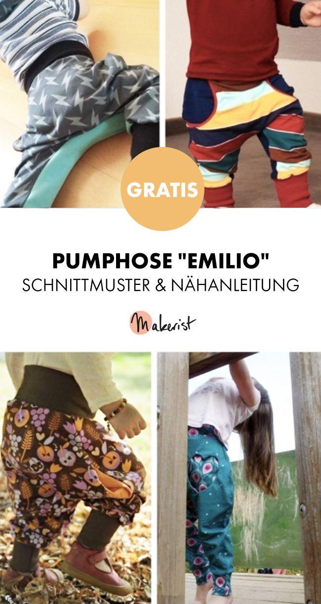 Gratis Anleitung: einfache Pumphose für Kinder nähen - Schnittmuster und Nähanleitung via Makerist.de #shirtschnittmuster