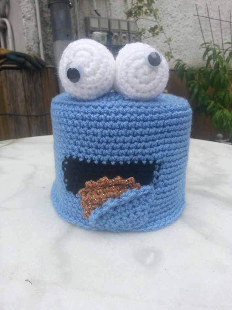 Klohut Toilettenhut Handarbeitblaues Monster Kekse Klopapier