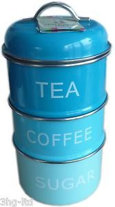 Kitchen Stackable Storage Jar Tea Sugar Coffee Tin Canister Caddy Red Blue Black