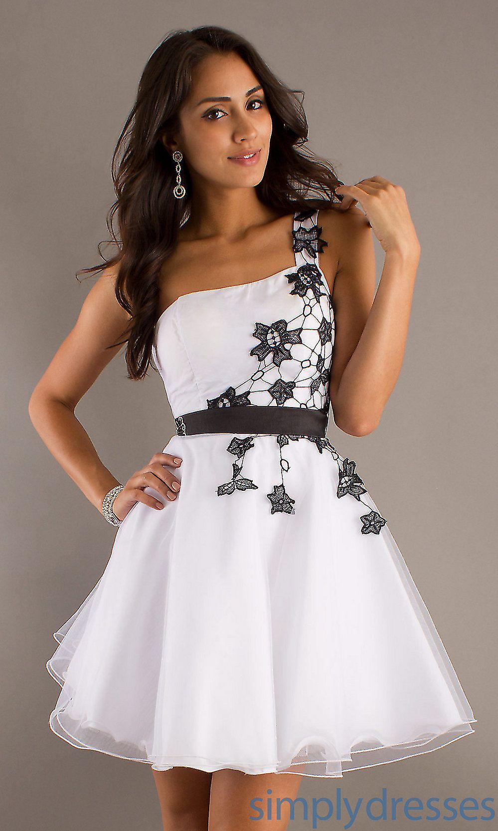 Buy cheap white lace one shoulder dress black and white
